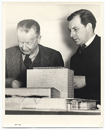[Eero Saarinen with model of design]