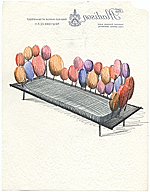 Design sketch of a sofa by Eero Saarinen