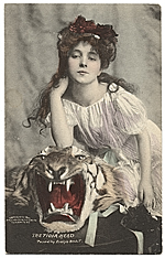 Evelyn Nesbit with a stuffed tiger head