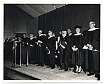 Aline Saarinen receiving an honorary degree from the University of Michigan