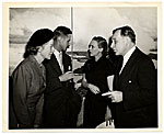 Aline and Eero Saarinen at an exhibition opening
