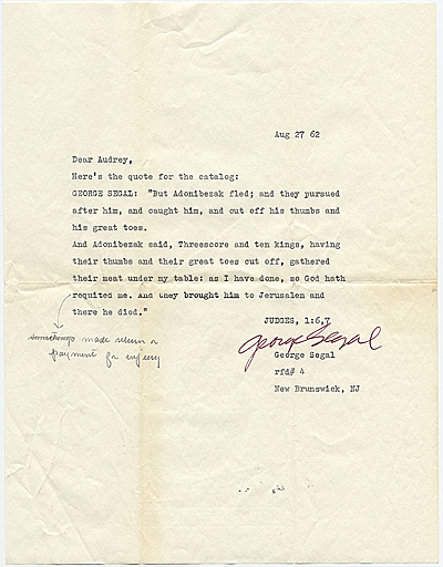 George Segal, New Brunswick, N.J. letter to Audrey Sabol