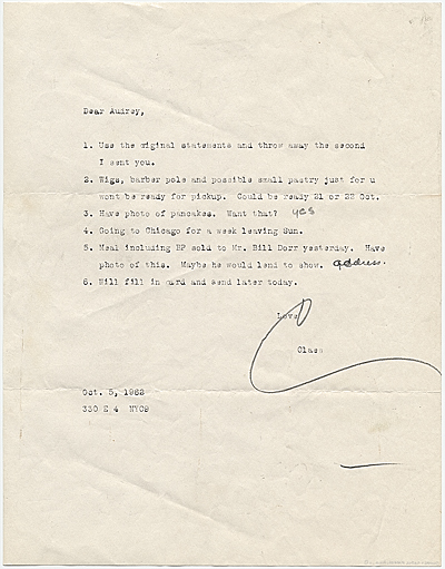 Claes Oldenburg, New York, N.Y. letter to Audrey Sabol