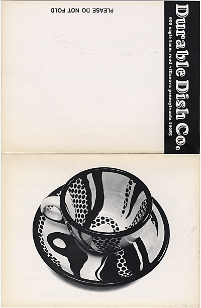 Order form for dishes by Roy Lichtenstein