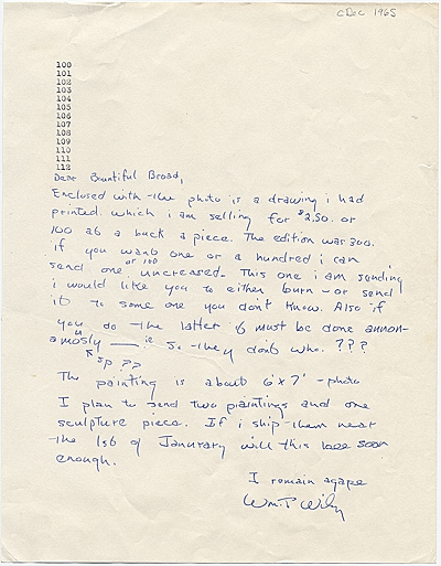 William T. Wiley letter to Audrey Sabol