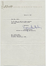 Virginia MacAuley, New York, N.Y. to Audrey Sabol, Villanova, Pa.