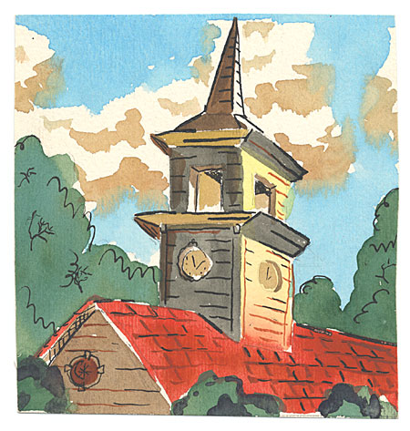 Red Roof with Clock Tower