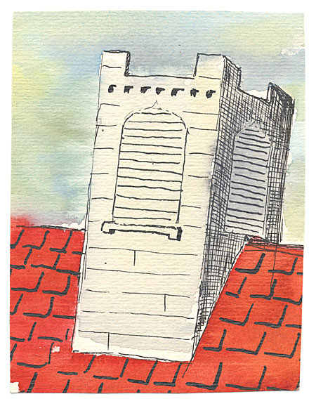 Gray Chimney on Red Roof