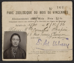 Cornelia Chapins membership card for the Parc Zoologique du Bois de Vincennes in Paris