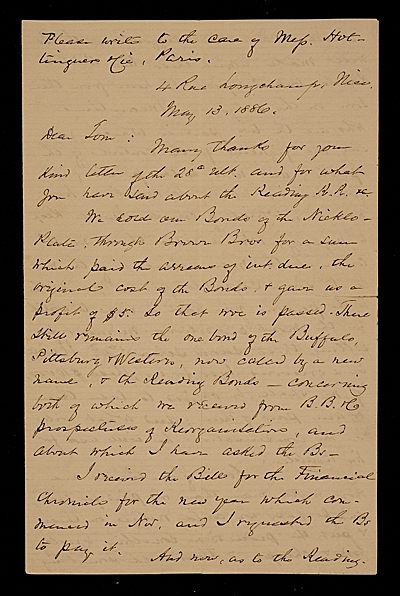 F. W. (Fitzwilliam) Sargent, Nice, France letter to Thomas Sargent