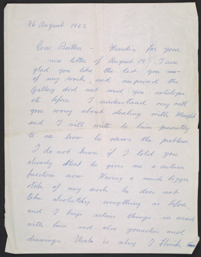 Pablo Picasso letter to Bertha Schaefer