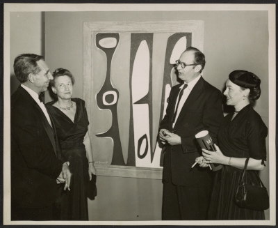 Bertha Schaefer and Will Barnet at the 14 Painter-Printmakers exhibition at the Brooklyn Museum