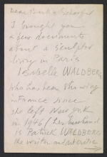 Marcel Duchamp letter to Bertha Schaefer