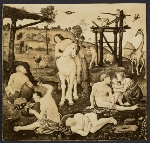 Reproduction of Piero di Cosimo's circa 1490 painting Vulcan and Aeolus as teachers of mankind