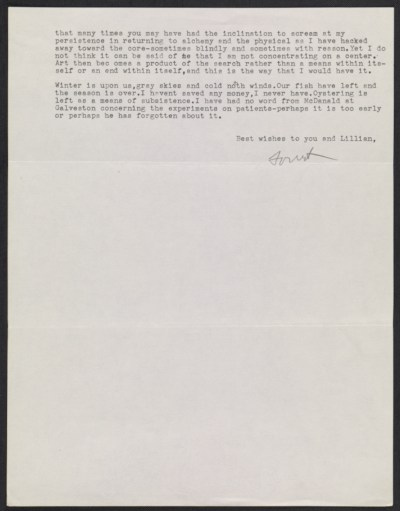 A letter, and accompanying ephemera, from Forrest Bess to Meyer Schapiro