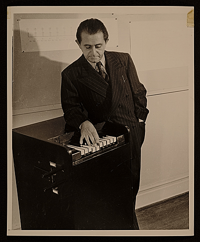 Joseph Schillinger with a rhythmicon