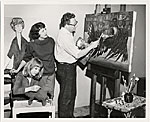 Palmer Schoppe in his studio with his wife Maria and their daughter Christine.