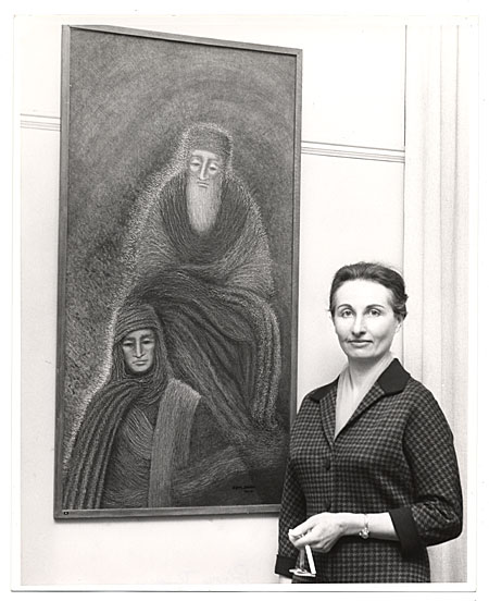 Zipora Lillian Schreiber with painting.