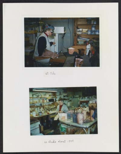June Schwarcz working at her kiln and in her studio