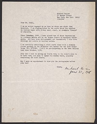 Michael Heizer, New York, N.Y. letter to Robert C. Scull