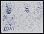 Blue ink drawing of musicians