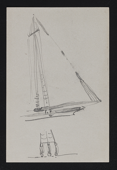 [Sketch of rigging on a sailboat]