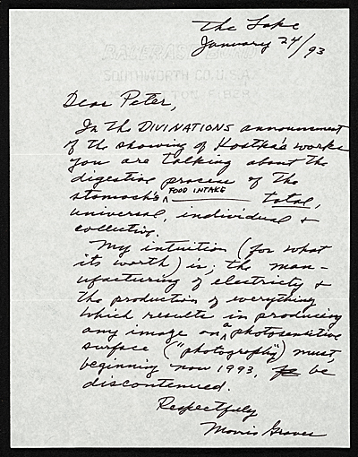Morris Graves letter to Peter Howard Selz