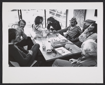 [Peter Selz seated with artists Joseph Raffael, William T. Wiley, Howard Fried, Lynn Hershman, Harold Paris, and Victor Moscoso]