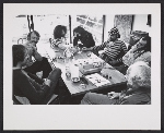 [Peter Selz seated with artists Joseph Raffael, William T. Wiley, Howard Fried, Lynn Hershman, Harold Paris, and Victor Moscoso ]