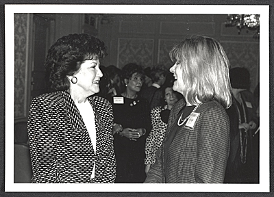 [Elizabeth Dole and Mary Shaffer in conversation]