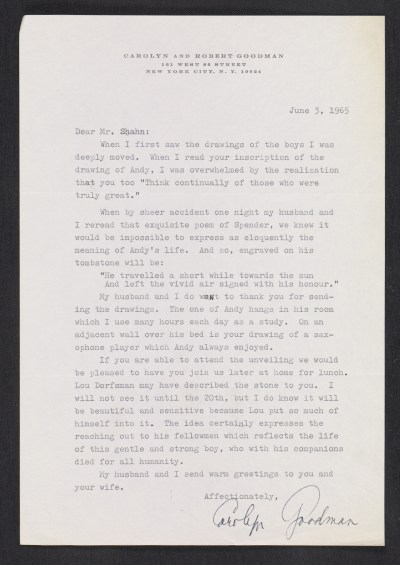 [Letter from Carolyn Goodman to Ben Shahn]
