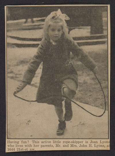 Newspaper clipping featuring a girl skipping rope