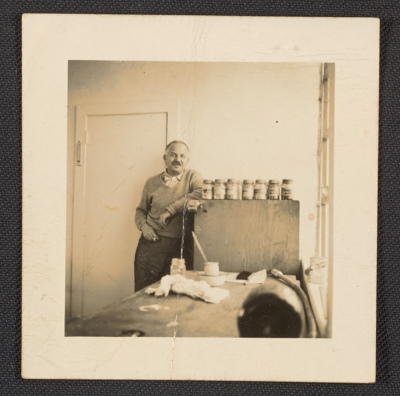 Ben Shahn in his studio, Roosevelt, NJ