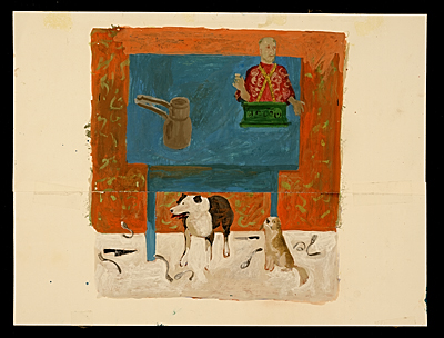 [Honoré Sharrer study for the painting Two dogs in a still life]