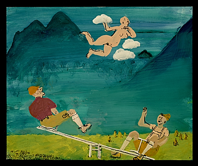 Men on seesaw