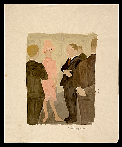 [Men in suits standing with a woman in a pink dress]