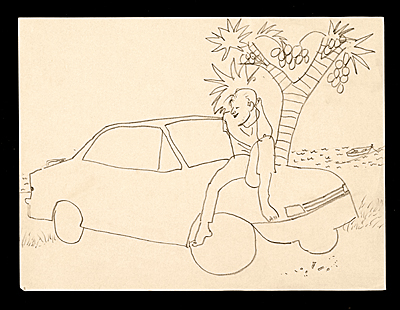 Sketch of a man sitting on a car
