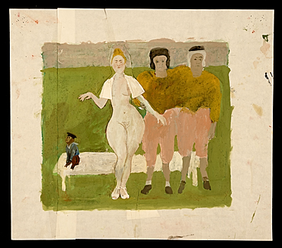 [Nude woman with two athletes and a monkey]
