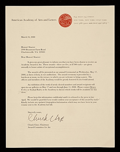 [Chuck Close, New York, N.Y. letter to Honor? Desmond Sharrer, Charlottesville, Va.]