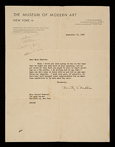 Dorothy Canning Miller, New York, N.Y. letter to Honoré Sharrer, New York, N.Y.