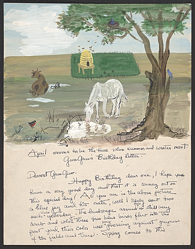 Honoré Sharrer illustrated letter to Honoré Sachs