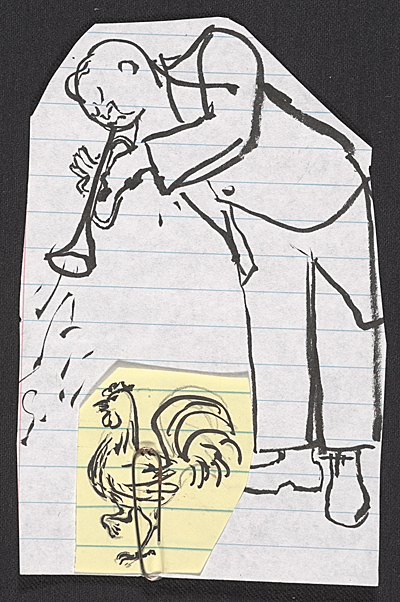 Honoré Sharrer sketches of a trumpeter and a rooster