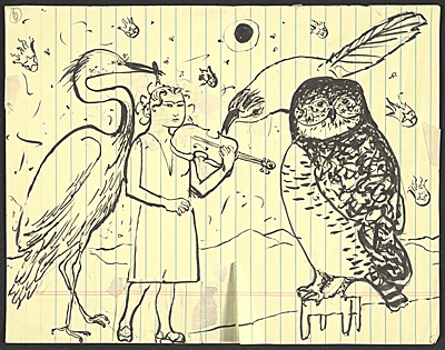 [Honoré Sharrer sketch of a violinist and over-sized birds]