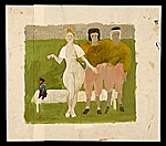 Nude woman with two athletes and a monkey
