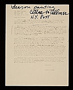 [Honoré Sharrer, Scottsville, N.Y. letter to Jerry Tallmer, New York, N.Y. ]