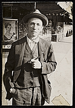 Source material for Tribute to the American Working People.  Man with hat and pipe