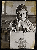 Source material for Tribute to the American Working People.  Boy holding drawing