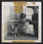 Unidentified woman with a beagle