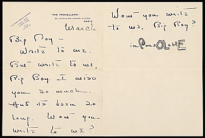[Cole Porter, Paris, France letter to Charles Green Shaw]