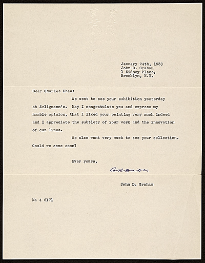 John Graham, Brooklyn, N.Y. letter to Charles Green Shaw